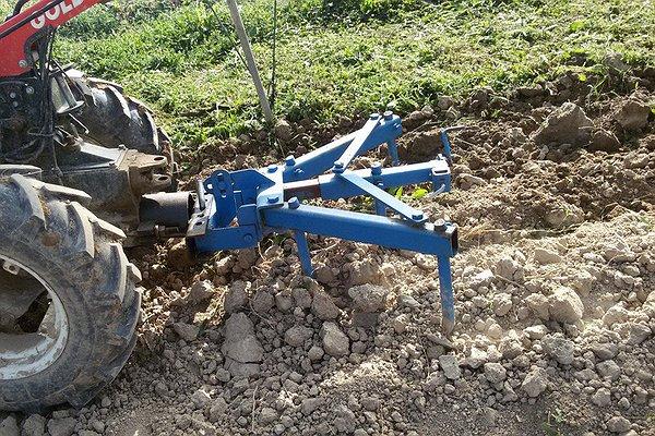 estirpatore che ha delle ancore che alzano il terreno portando in superficie le radici.